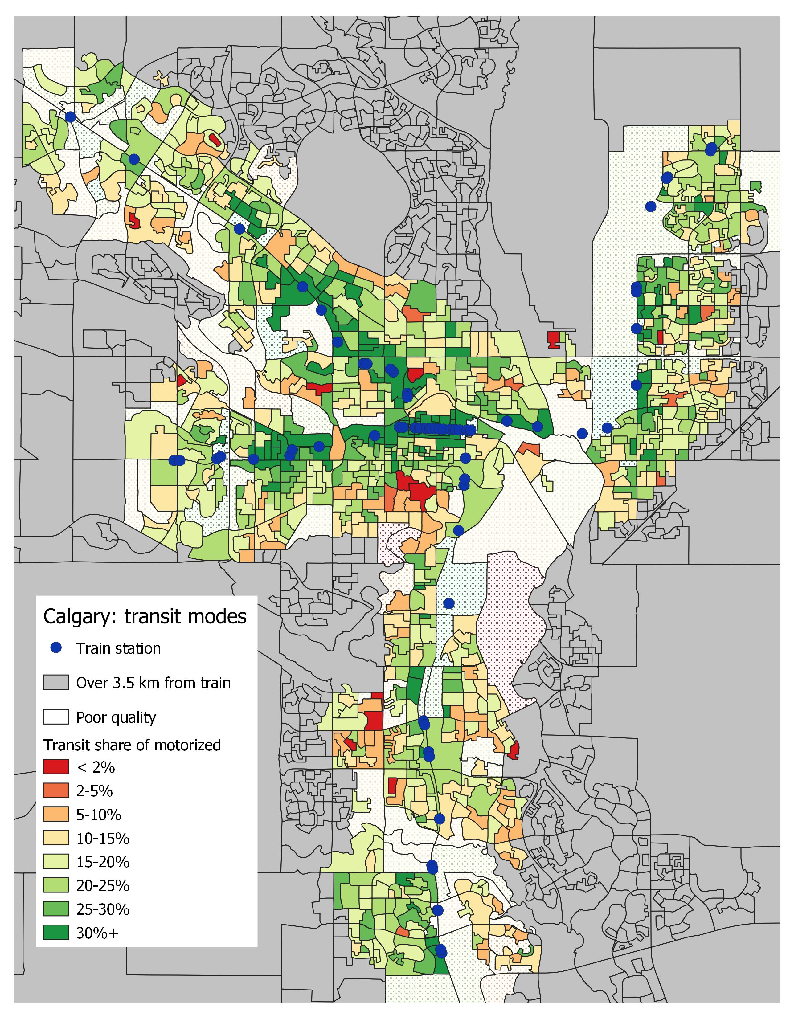 Transit walking distance: Calgary – Mean Median Mode Choice on